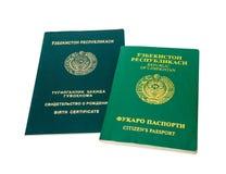 Пасспорт и свидетельство о рождении Узбекистана Стоковые Изображения