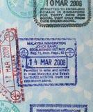 пасспорт Малайзии штемпелюет визу Стоковое Изображение RF