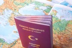 Пасспорт на карте мира Стоковое фото RF