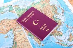 Пасспорт на карте мира Стоковая Фотография