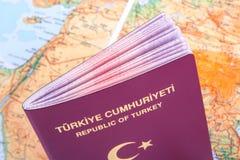 Пасспорт на карте мира Стоковое Изображение RF