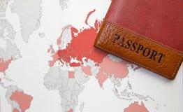 Пасспорт на карте предпосылки мира Стоковое Изображение RF