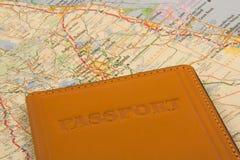 Пасспорт на карте Стоковое Фото