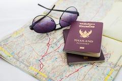 Пасспорт на карте Стоковая Фотография
