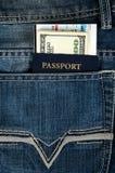 пасспорт пропуска дег джинсыов восхождения на борт Стоковое Изображение RF