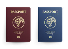 Пасспорт с картой вышесказанного Реалистическая иллюстрация вектора Красные и голубые пасспорты с глобусом международно иллюстрация штока