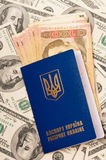 Пасспорт Украина и деньги Стоковые Фотографии RF