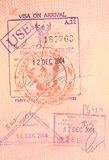 Пасспорт штемпелюет - визу на прибытии к Таиланду Стоковые Изображения