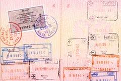 пасспорт штемпелюет визу Стоковое Фото