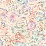 Пасспорт штемпелюет безшовную текстуру Стоковая Фотография RF