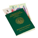 пасспорт uzbekistan дег стоковое фото