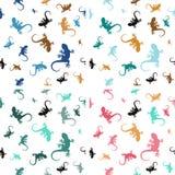 Пастельные безшовные картины с ящерицами Стоковые Фотографии RF