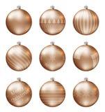 Пастельные оранжевые шарики рождества изолированные на белой предпосылке Photorealistic высококачественный комплект вектора безде стоковое изображение rf