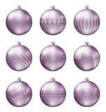 Пастельные розовые шарики рождества изолированные на белой предпосылке Photorealistic высококачественный комплект вектора безделу стоковые фотографии rf