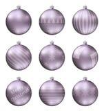 Пастельные фиолетовые шарики рождества изолированные на белой предпосылке Photorealistic высококачественный комплект вектора безд стоковая фотография