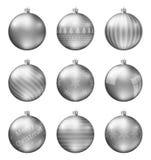 Пастельные черные шарики рождества изолированные на белой предпосылке Photorealistic высококачественный комплект вектора безделуш стоковые изображения