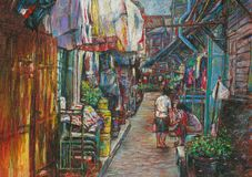 Пастельный городской пейзаж общины в небольшом переулке стоковая фотография rf