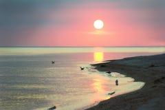 Пастельный заход солнца на море Стоковые Фото