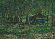 Пастельный ландшафт хижин в лесе стоковые изображения rf