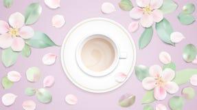 Пастельная белая иллюстрация вектора предпосылки утра с кофейной чашкой бесплатная иллюстрация