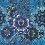 Пастельная голубая винтажная восточная безшовная картина Индийский, арабский, тахта, turkish, японцы, китайский флористический ди Стоковое фото RF