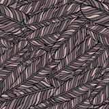 Пастельная коричневая безшовная картина с пер Элементы стиля предпосылка рисуя флористический вектор травы Стоковые Изображения