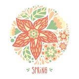 Пастельная предпосылка с кругом цветков Стоковая Фотография