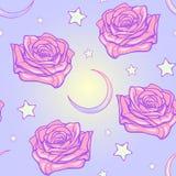 Пастельная луна goth и картина роз безшовная иллюстрация вектора