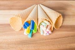 Пастельные мел в конусах вафли Стоковое фото RF