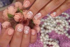 Пастельные цвета дизайна искусства ногтя Стоковые Фото