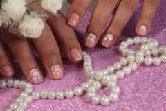 Пастельные цвета дизайна искусства ногтя Стоковая Фотография