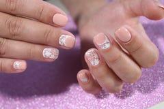Пастельные цвета дизайна искусства ногтя Стоковые Изображения