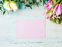 Пастельные цвета пустого фиолетового тюльпана цветка карточки розовые Стоковая Фотография RF