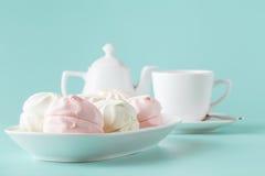Пастельные цвета розовые и белые зефиры Стоковое Фото