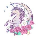 Пастельный единорог goth с серповидной поздравительной открыткой звезд и роз бесплатная иллюстрация