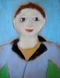 Пастельный портрет женщины - сделанной ребенком иллюстрация штока