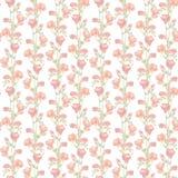 Пастельный свет повторил обои с увяданным флористическим дизайном - красные цветки freesias Стоковая Фотография RF