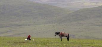Пастух и лошадь яков Стоковые Изображения RF