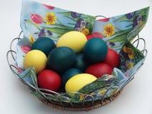 пасхальное яйцо глубины корзины eggs покрашенный зеленый цвет поля фокусируя отмелым Правоверная традиция пасхи Яичка Стоковое Фото