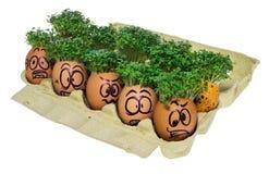 Пасхальное яйцо покрашенное в смешной стороне smiley и красочных картинах Стоковые Изображения