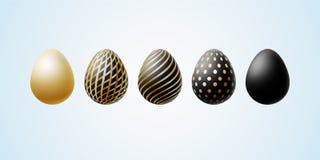 Пасхальное яйцо установило элегантных современных роскошных пасхальных яя черного золота со спиральные линии точки пылинок картин иллюстрация вектора