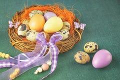 Пасхальные яйца в гнезде с декоративными лентами на зеленой предпосылке Стоковые Фото