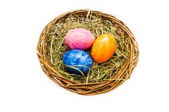 Пасхальные яйца в корзине изолированной на белой предпосылке стоковые фотографии rf