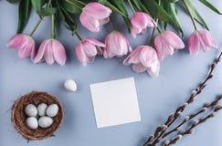 Пасхальные яйца в цветках гнезда и тюльпана на предпосылке весны Взгляд сверху с космосом экземпляра карточка пасха счастливая Стоковое Изображение