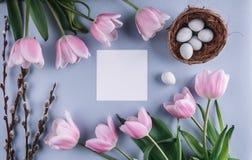 Пасхальные яйца в цветках гнезда и тюльпанов на предпосылке весны Взгляд сверху с космосом экземпляра карточка пасха счастливая Стоковое Изображение