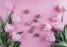 Пасхальные яйца в цветках гнезда и тюльпанов на предпосылке весны Взгляд сверху с космосом экземпляра карточка пасха счастливая Стоковые Фото