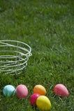 пасхальные яйца детали корзины Стоковые Изображения