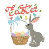 пасхальные яйца зайчика корзины Стоковое Изображение