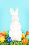 пасхальные яйца зайчика цветастые белые Стоковое Изображение RF