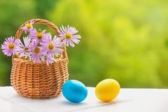 Пасхальные яйца и корзина с цветками Стоковые Фотографии RF